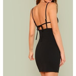 Black Sleeveless Tie Back Bodycon Mini Sexy Dress